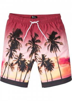 Пляжные бермуды с фотопринтом bonprix. Цвет: ярко-розовый