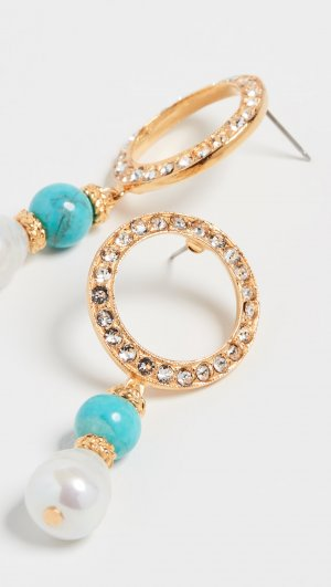 Crystal Circle Earrings with Pearl Drop Ben-Amun