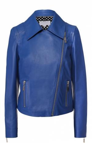 Кожаная куртка с косой молнией и отложным воротником Escada Sport. Цвет: синий