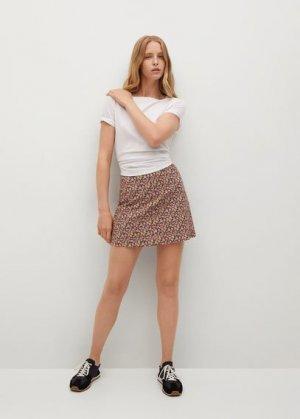 Мини-юбка с цветочным принтом - Aretha Mango. Цвет: черный
