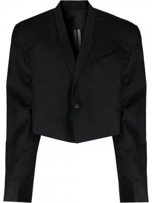Укороченный пиджак с подплечниками Rick Owens. Цвет: черный