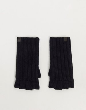 Черно-синие перчатки без пальцев в рубчик -Темно-синий AllSaints
