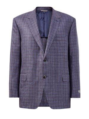 Пиджак в неаполитанском стиле с мелованным принтом CANALI. Цвет: синий
