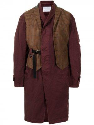 Однобортное пальто со вставкой-жилетом Kolor. Цвет: коричневый