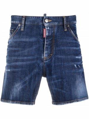 Джинсовые шорты с нашивкой-логотипом Dsquared2. Цвет: синий