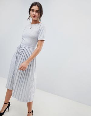 Платье миди с плиссированной юбкой -Серый ASOS DESIGN