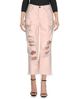Джинсовые брюки-капри ALEXANDER WANG. Цвет: светло-розовый