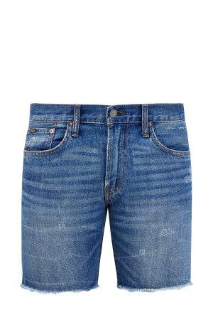 Джинсовые шорты с потертостями и эффектом необработанного края POLO RALPH LAUREN. Цвет: синий