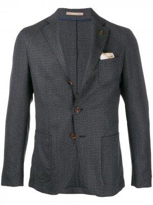 Фактурный пиджак с брошью Paoloni. Цвет: синий