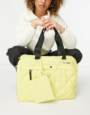 Большая стеганая сумка-тоут с маленькой сумкой желтого цвета -Желтый Steve Madden