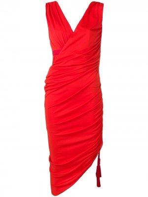 Платье миди со сборками LANVIN. Цвет: красный