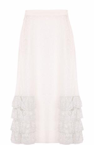 Кружевная юбка-миди с оборками Rodarte. Цвет: белый
