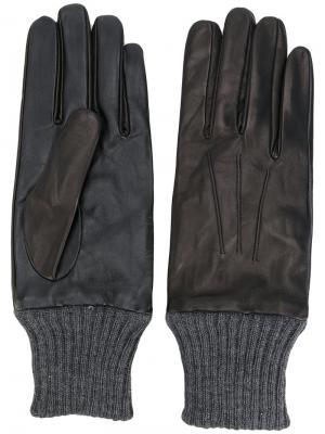 Перчатки с манжетами в рубчик Diesel. Цвет: чёрный