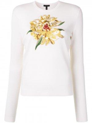 Пуловер с цветочной вышивкой Escada. Цвет: белый