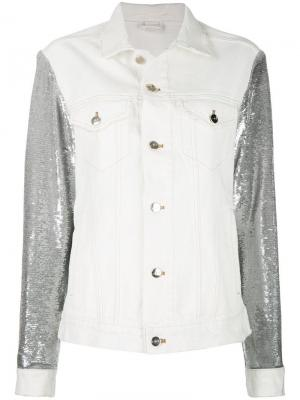 Джинсовая куртка с пайетками на рукавах Iro. Цвет: белый