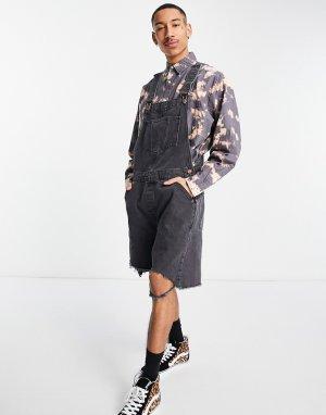 Выбеленный черный короткий джинсовый комбинезон с широкими штанинами и необработанным краем -Черный цвет ASOS DESIGN