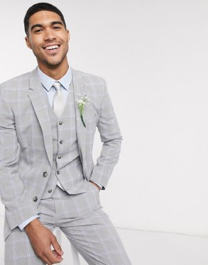 Серо-голубой пиджак скинни в клетку Wedding-Серый ASOS DESIGN