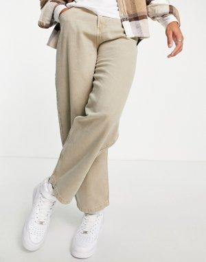 Коричневые выбеленные джинсы широкого кроя от комплекта -Коричневый цвет Bershka