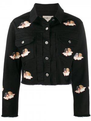 Джинсовая куртка Angels с принтом Fiorucci. Цвет: черный