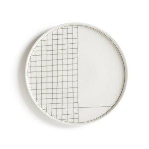 Комплект из 4 плоских тарелок LaRedoute. Цвет: белый