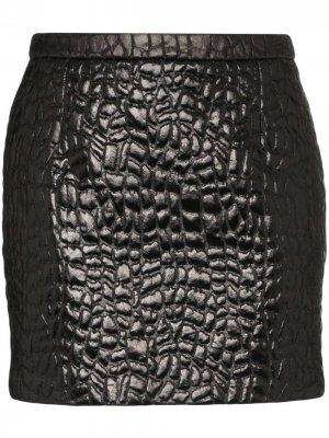 Юбка мини с тиснением Saint Laurent. Цвет: черный