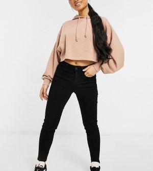 Черные зауженные джинсы с покрытием -Черный цвет New Look Petite