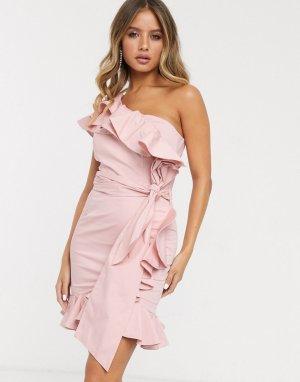 Платье мини на одно плечо пыльно-розового цвета с бантом и оборками -Розовый Bardot