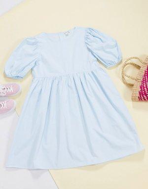 Голубое свободное платье из хлопкового поплина -Синий Monki