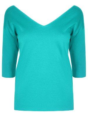 Хлопковый пуловер Malo. Цвет: бирюзовый