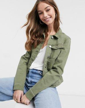 Классическая джинсовая куртка цвета хаки Tia-Зеленый Only