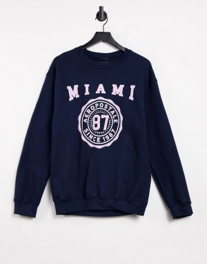 Темно-синий свитшот с принтом Miami 87 Aeropostale