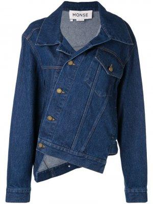 Джинсовая куртка асимметричного кроя Monse. Цвет: синий