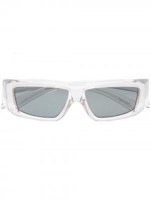 Солнцезащитные очки в прямоугольной оправе Rick Owens. Цвет: серый