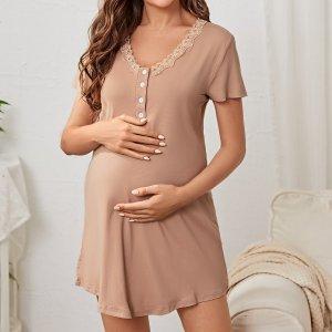 Домашнее платье с кружевной отделкой для беременных SHEIN. Цвет: aбрикосовый