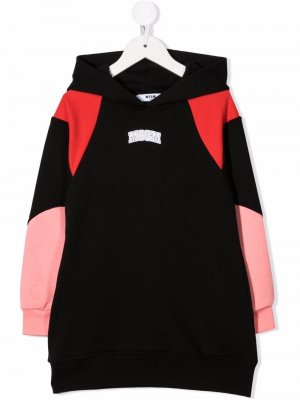 Panelled hoodie dress MSGM Kids. Цвет: черный