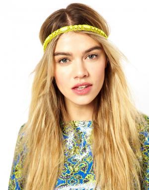 Матовая желтая повязка на голову Deepa Gurnani. Цвет: желтый