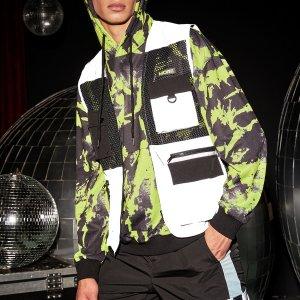 Мужской с заплатой карманом Жилет Куртка SHEIN. Цвет: многоцветный