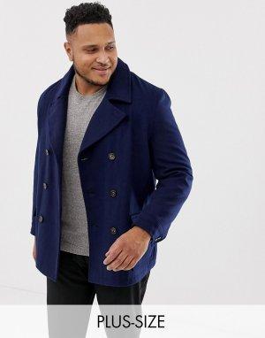 Пальто-бушлат с добавлением шерсти Plus premium-Темно-синий Harry Brown