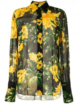 Полупрозрачная рубашка с цветочным принтом Carolina Herrera. Цвет: черный