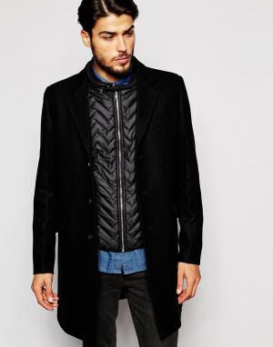 Шерстяное пальто со съемной подкладкой-жилетом Antony Morato. Цвет: черный