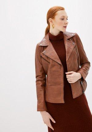 Куртка кожаная La Reine Blanche. Цвет: коричневый