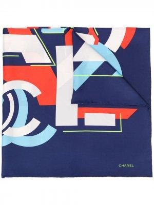 Платок с геометричным логотипом Chanel Pre-Owned. Цвет: синий