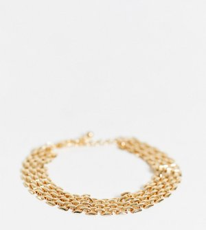 Массивный золотистый браслет-цепочка DesignB London Curve