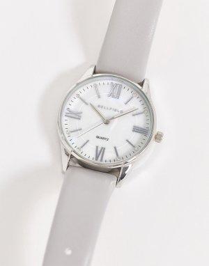 Часы с серым ремешком и серебристым циферблатом -Серебристый Bellfield