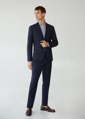 Костюмные брюки super slim fit с мелкой фактурной выделкой - Paulo Mango. Цвет: темно-синий