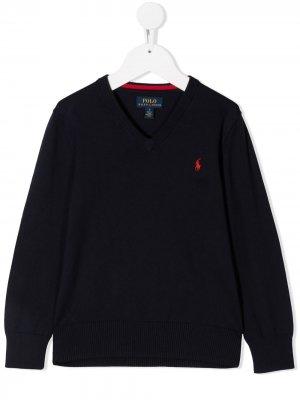 Джемпер с вышитым логотипом и V-образным вырезом Ralph Lauren Kids. Цвет: синий
