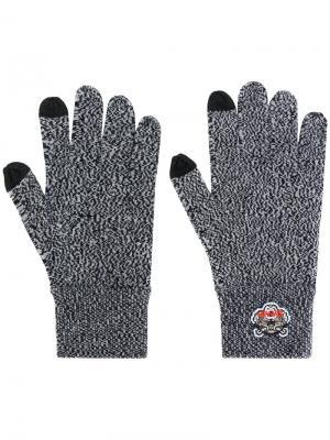 Перчатки с нашивкой в виде тигра Kenzo. Цвет: серый