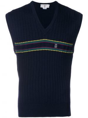 Ребристая жилетка в полоску Valentino Vintage. Цвет: синий