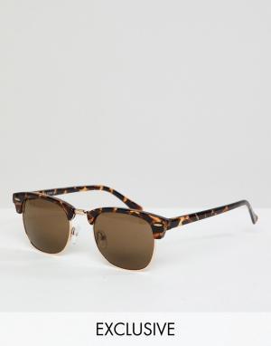 Черепаховые солнцезащитные очки в стиле ретро Inspired эксклюзивно для ASOS Reclaimed Vintage. Цвет: коричневый