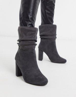 Ботинки из искусственной замши -Серый Lipsy